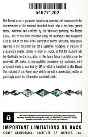 Security features on a GIA diamond report