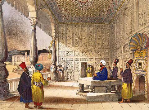 Shah Shuja al Mulk ,sitting at his palace