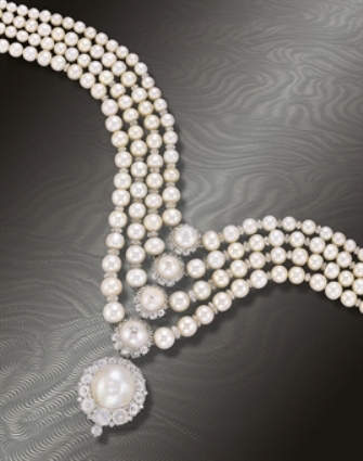 Superb four row natural pearl and diamond necklace