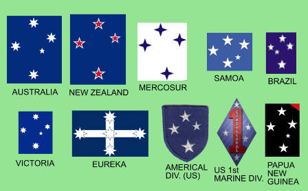 The Southern Cross Constellation in various flags and badges