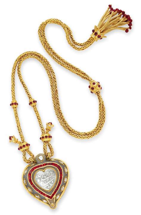 Taj Mahal Diamond and Jade Pendant and Necklace