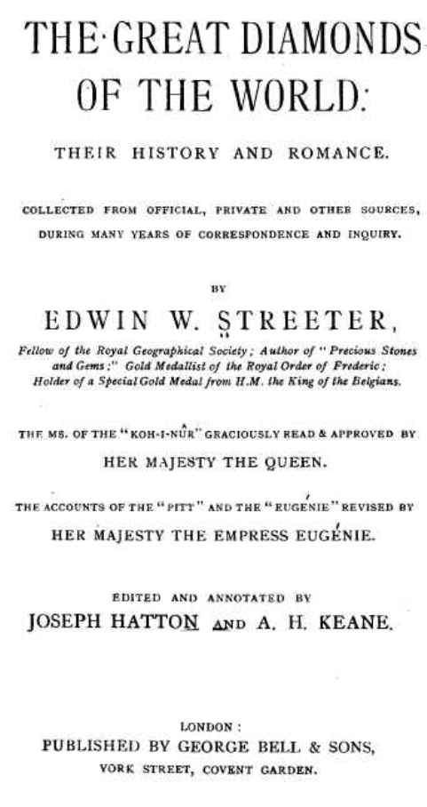 Title Page of Edwin Streeter's book, Great Diamonds of the World