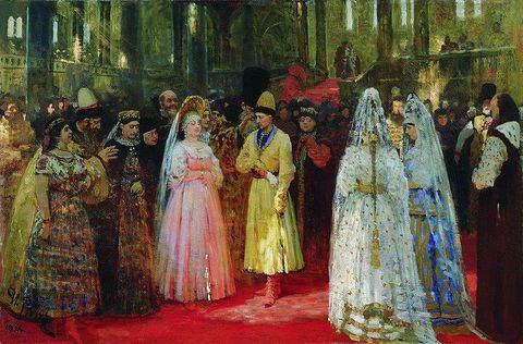 Tsar Michael I choosing his bride from several fair maidens in 1626