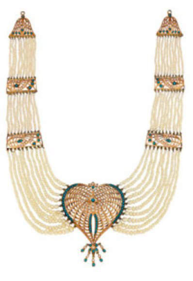Ummu Kulthum's Multi-strand Pearl and Turquoise Necklace