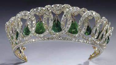 Vladimir Tiara with pearls interchanged with emeralds