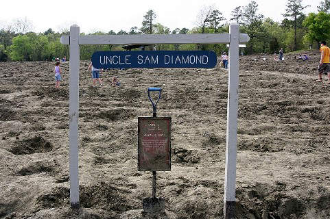 The exact spot in the Crater of Diamonds Park search area where the Uncle Sam diamond was discovered