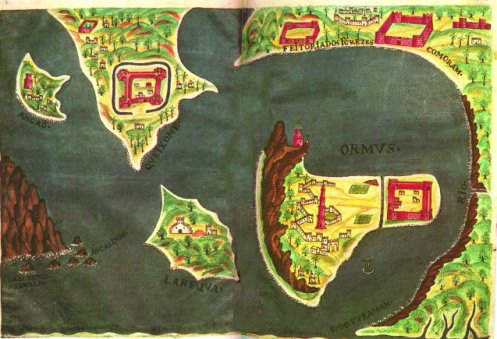 17th Century Portuguese Map of the bell-shaped island of Hormuz