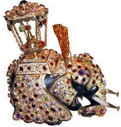 Jewel Studded Elephant Ornament studded with blue,violet,orange,pink and other fancy sapphires