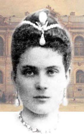 Princess Zinaida Yusupov wearing the La Pelegrina Pearl as a head ornament surmounted by the La Regente Pearl