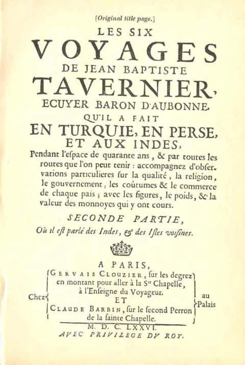 Original title-page of Tavernier's book