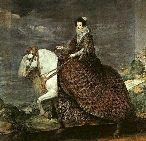 Equestrian portrait of Queen Isabel, consort of King Philip IV of Spain, by Diego Velazquez circa 1634-35, depicts her wearing a brooch with the La Peregrina Pearl as a pendant.
