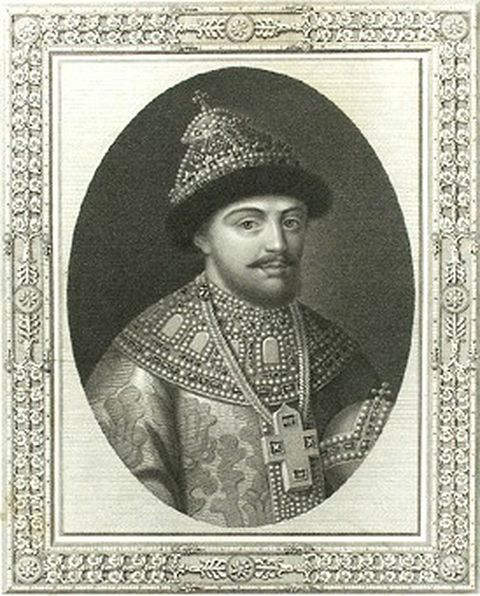Portrait of Tsar Feodor III of Russia by unknown artist executed in the late 1600s