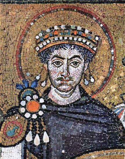 Mosaic at Basilica of St. Vitalle in Ravenna showing Emperor Justinian I