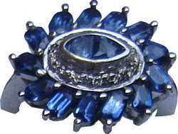 Cluster ring of unique design with numerous Ceylon blue sapphires and diamonds set in 18ct white gold.