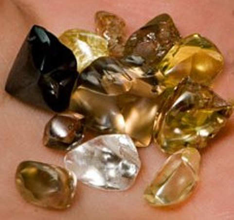 Some diamonds found at the Arkansas Crater of Diamonds State Park