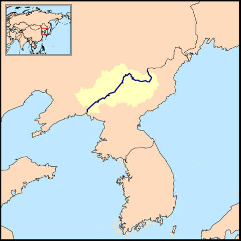 Yalu River, border between North Korea and Manchuria, China.